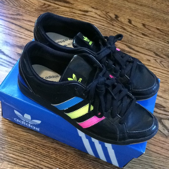 Adidas Patent Leather Black & Neon Sneakers *RARE